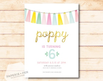 Party Time Tassels + Fringe Birthday or Shower Invitation, 2-3 Day Turnaround!