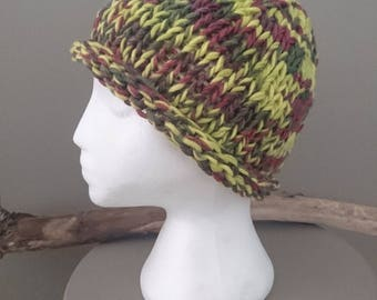 Lovely Gift Of Hippy Boho Hand-Knitted Ladies Winter Warm Beanie With Rolled Brim