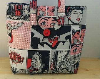 Tote bag, wonderwoman tote, canvas tote, beach bag, red tote bag, fabric tote bag, superheroe bag, geek bag, comic bag, tote bag fabric