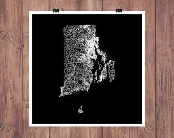 Rhode Island Map Art / Rhode Island Poster / Rhode Island Art / Rhode Island Print / Rhode Island Road Map / Map of Rhode Island