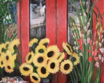 Du sud rue fleurs, peinture d'acrylique 16 x 20