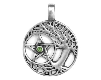 Wiccan Tree and Pentagram with Green Stone 1.5 inch (36 mm) Pewter Pendant