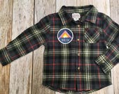 Toddler Boy Flannel with Patch- Breck Patch
