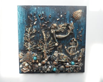 mermaid ornamental plaque and display easel