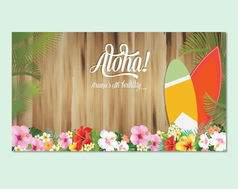 Aloha Printable Backdrop, Hawaiian Party Backdrop, Birthday Party Backdrop, Tropical Party Backdrop, Aloha Party Backdrop