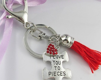 Puzzle Piece I Love You to Pieces Heart Charm Keychain Keyring with Tassel 97mm