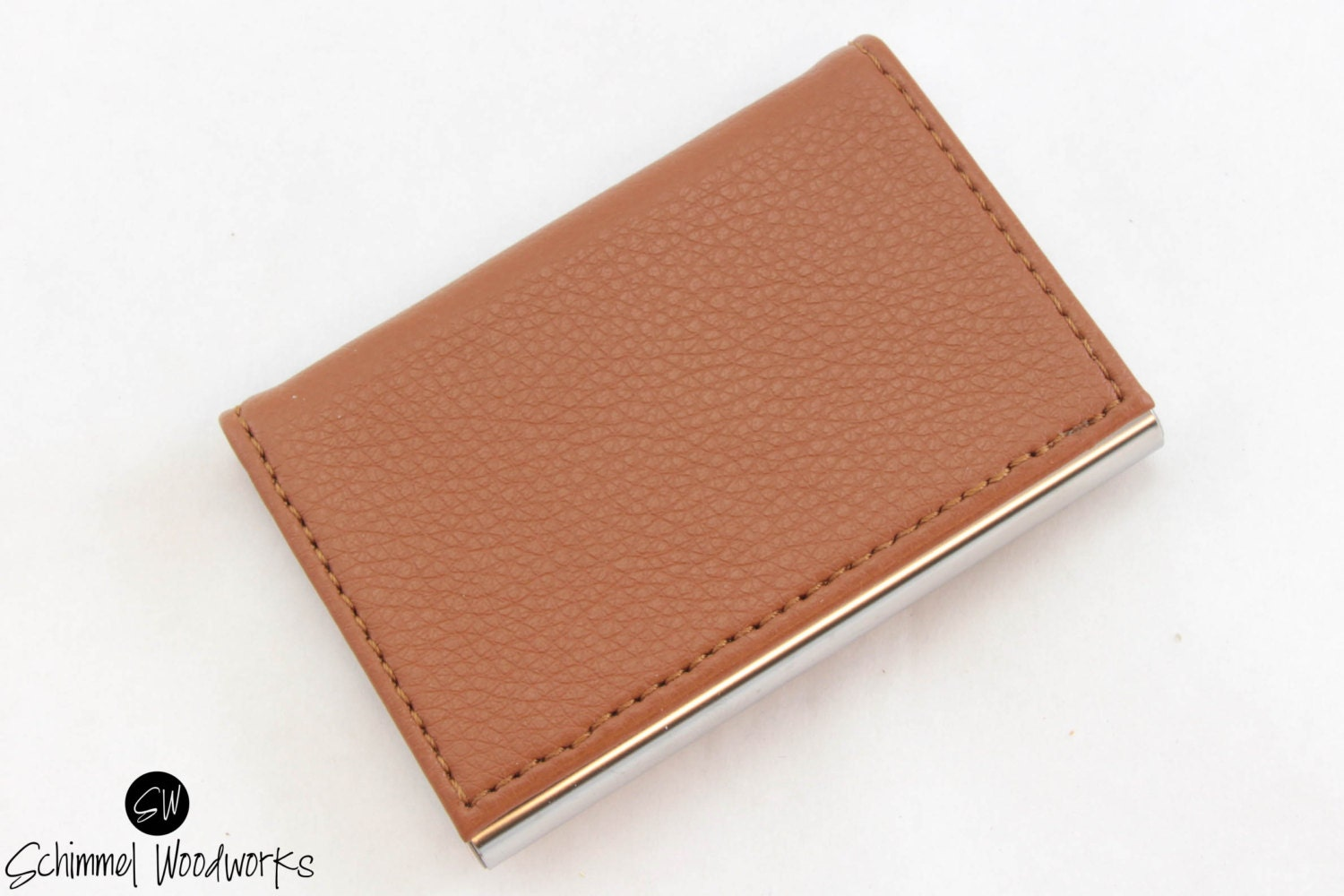 Custom Engraved Leather Business Card Holder, Groomsmen Card