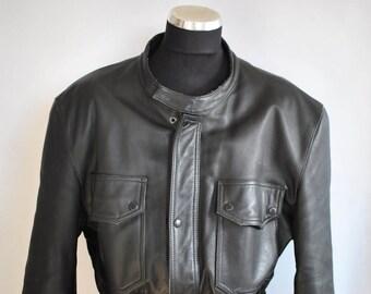 Vintage MOTORCYCLE LEATHER JACKET , men's biker jacket .....(328)