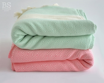 SALE 30 OFF/ Diamond Blanket / Mint Green-Pink / Twin XL / Bedcover, Beach blanket, Sofa throw, Traditional, Tablecloth