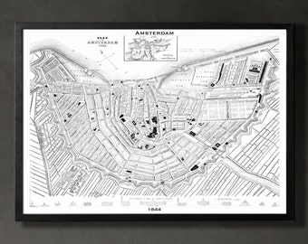 Map of AMSTERDAM Print, Wall Decor for your Home or Office