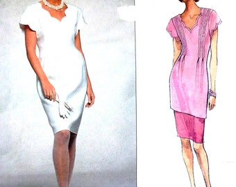 Vogue 2692 sewing pattern, Albert Nipon designer original, sizes 12-14-16, dress, tunic and skirt, UNCUT, scalloped neckline, pintucks