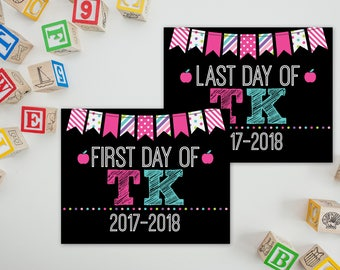 First Day Of TK Sign - TK School Sign - Print Yourself 1st Day of Preschool Sign - Back to School Sign - 1st Day of School Printable