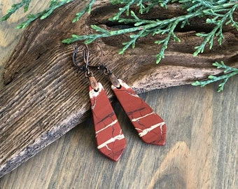 Deep Red River jasper earrings , natural and genuine ancient stones