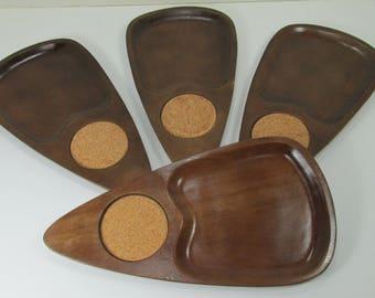 4 Vintage Serv Wood Snack and Beverage Trays Japan Mid Century Modern Danish Hardwood