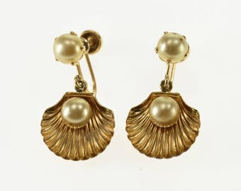 10k Pearl Inset Scallop Sea Shell Dangle Screw Back Earrings Gold
