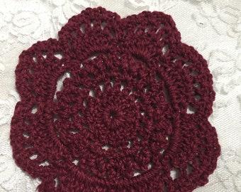 Wine Handmade Crochet Doilies , Embellishments, Cup Mat, Coasters, Junk Journals, Scrapbooks Collages