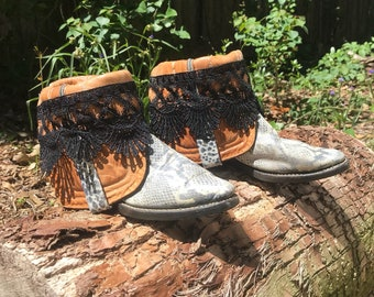 Reptile and Lace Short Boots Size 6