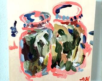 Pickle Jars Art on Wood - Acrylic Painting on Canvas, miniature art