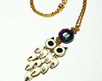 Ivory Enamel Wide-Eyed Owl Necklace w/Bejeweled Multi Color Crystal Glass Gemstone Tapered Tiers of Feathers/Prism Glass Bead FREE SHIPPING