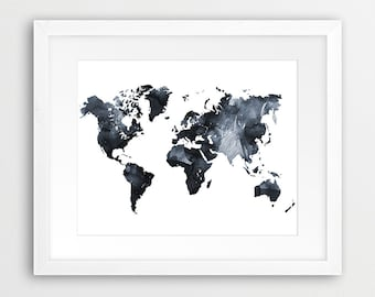 World map grey printable file world map silhouette neutral world map watercolor print world map wall art world map watercolor grey black white gumiabroncs Choice Image