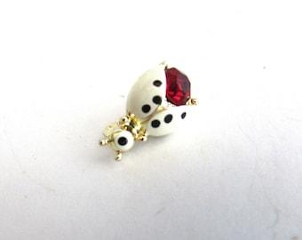 Enamel Lady Bug Red Rhinestone Pin Brooch Vintage Insect