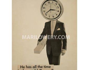 Surreal Art 8.5 x 11 Inch Paper Collage Print, Clock Art, Retro Wall Decor, Gift for Men, Unusual Wall Art, frighten