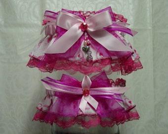 Pink Ribbon Breast Cancer Awareness Wedding Garter Set in Pinks