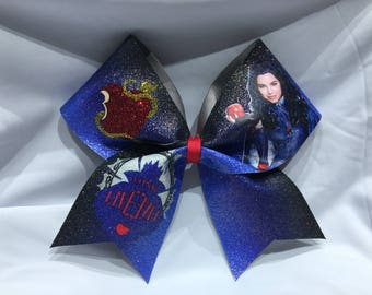 "Evie -  Descendants ""TEXAS/CHEER"" LARGE Size Glitter bow"