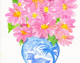 Gerbera Daisies watercolor painting Original , blue and white deer vase, pink Gerber original flowers artwork, art 5 x 7 SharonFosterArt
