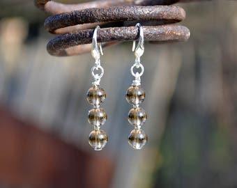 Smoky quartz earrings, Quartz earrings, French hook smoky quartz earrings, Silver earrings smoky quartz, Smoky quartz drop earrings.