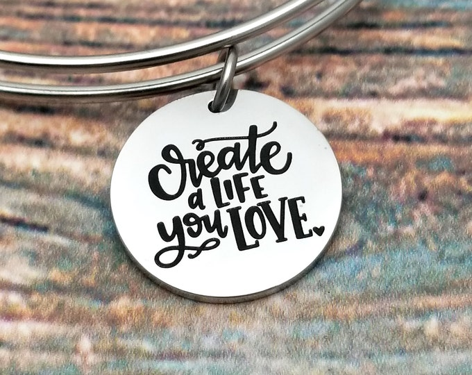 Create a life you love Customizable Expandable Bangle Charm Bracelet, choose your charms, create your style, design your bracelet,