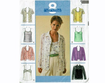 Camisole and Shirt pattern Sizes 8 10 12 Tank and Top Bust 31 1/2 32 1/2 34 UNCUT Sewing Pattern McCalls 9458