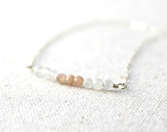 Moonstone Bar Necklace in Sterling Silver / White and Pastel Natural Stone Jewelry / Handcrafted / Gifts under 50