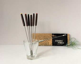 Vintage Fondue Forks, Wooden Handle Forks in Original Box, Six Piece Boxed Set, 1960s Entertaining, Mid Century Modern, Danish Style