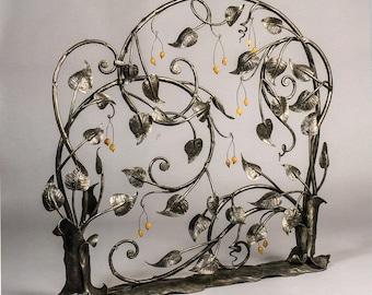 "Handmade blacksmith art fireplace screen ''BERRIES BUSH"""