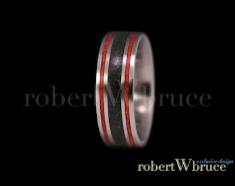 MEGALODON, Deep Sea Coral & Titanium Groom's Wedding Band Ring - Exclusive rWb Custom Design