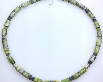 sterling silver serpentine and jade bead necklace, adjustable green necklace