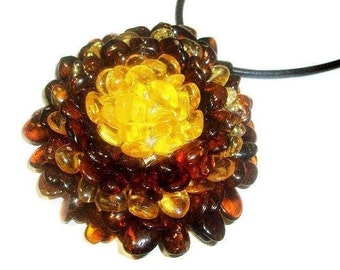 Large Baltic amber flower pendant necklace Flower amber jewelry Amber necklace adult Stone necklace Mother's day gift wife sister for woman