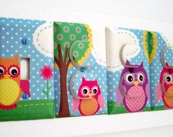 Nursery Light Switch Cover - Owl Nursery Decor - Woodland Outlet Covers - Girls Nursery