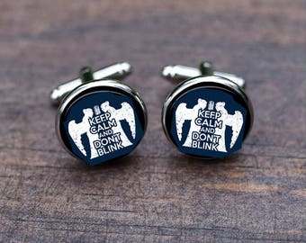 Keep Calm and Don't Blink cuff links, Weeping, Crying Angel, custom wedding cufflinks & tie clip, unique silver cufflinks, Christmas gifts