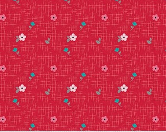 Floral on Red From Riley Blake Fabric's Panda Love Collection by Kelly Panacci
