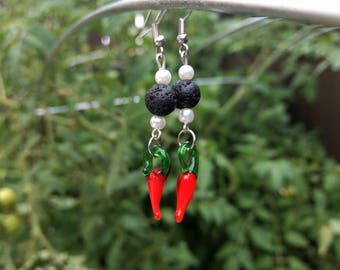 Glass Chili Pepper and Lava Stone Bead Earrings