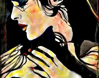 Watercolor painting, Erotic art, Nude Woman, Algarve night, Woman in Profile, Portugal inspired, ORIGINAL contemporary art, Alex Solodov