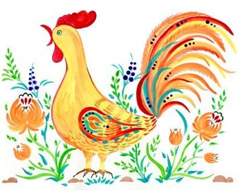 Petrykivka rooster