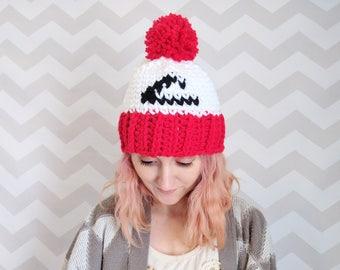 pokemon hat, ash ketchum hat, pokemon, pokemon league hat, pom pom hat, winter hat, pokemon costume, knit hat, crochet hat, pokemon cosplay