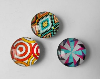 Colorful Glass Magnets - Set of Three Round Dome Magnets - Refrigerator / Fridge Magnet, Office / Kitchen Magnet, Small Strong Magnets