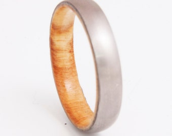 titanium olive ring // wood ring // mens wood ring // wood wedding band // mens wedding ring // her him ring