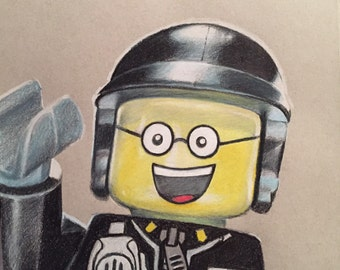 Original Drawing of Good Cop from the Lego Movie (NOT a print)