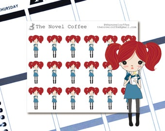 Planner Stickers Doodle Girl Eating Takeout - Erin Condren Life Planners - NC116