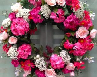 Geranium Wreath, Summer Wreath, Door Wreath, Silk Flower Wreath, Door Decoration, Silk Floral Wreath, Wreaths, Spring Wreath, Silk Flowers